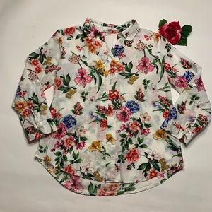 Eden & Olivia Womens Large Cotton Floral Blouse